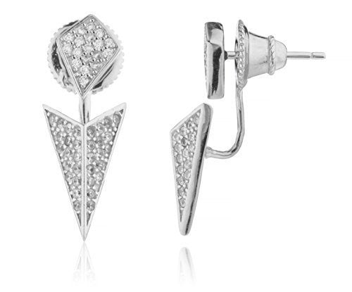 Real 925 Sterling Silver 3D Chevron Symmetrical Jacket Stud Earrings With Cubic Zirconia Stones
