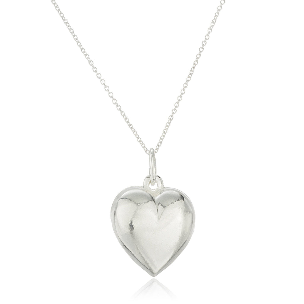 Real 925 Sterling Silver 3D Heart Pendant With An 18 Inch Rolo Necklace