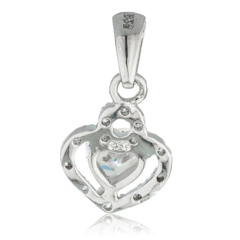 Real 925 Sterling Silver 3d Heart Pendant With Cubic Zirconia And An 18 Inch Link Necklace