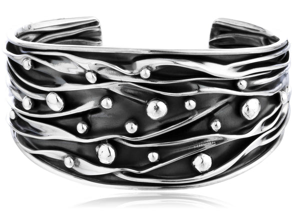 Real 925 Sterling Silver 3D Wire And Ball Solid Cuff Bangle Bracelet