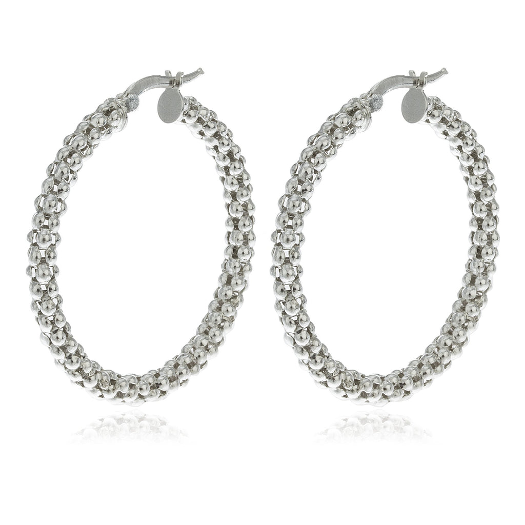 Real 925 Sterling Silver 4mm Mesh Style Pincatch 1.35 Inch Hoop Earrings