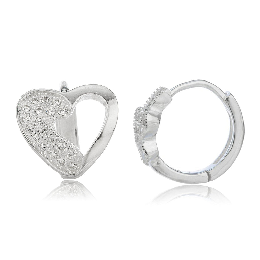 Real 925 Sterling Silver .5 Inch (13mm) Huggie Hoop Heart Earrings With Cubic Zirconia