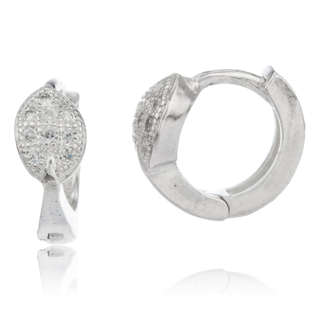 Real 925 Sterling Silver .5 Inch (13mm) Huggie Hoop Leaf Style Earrings With Cubic Zirconia Stones