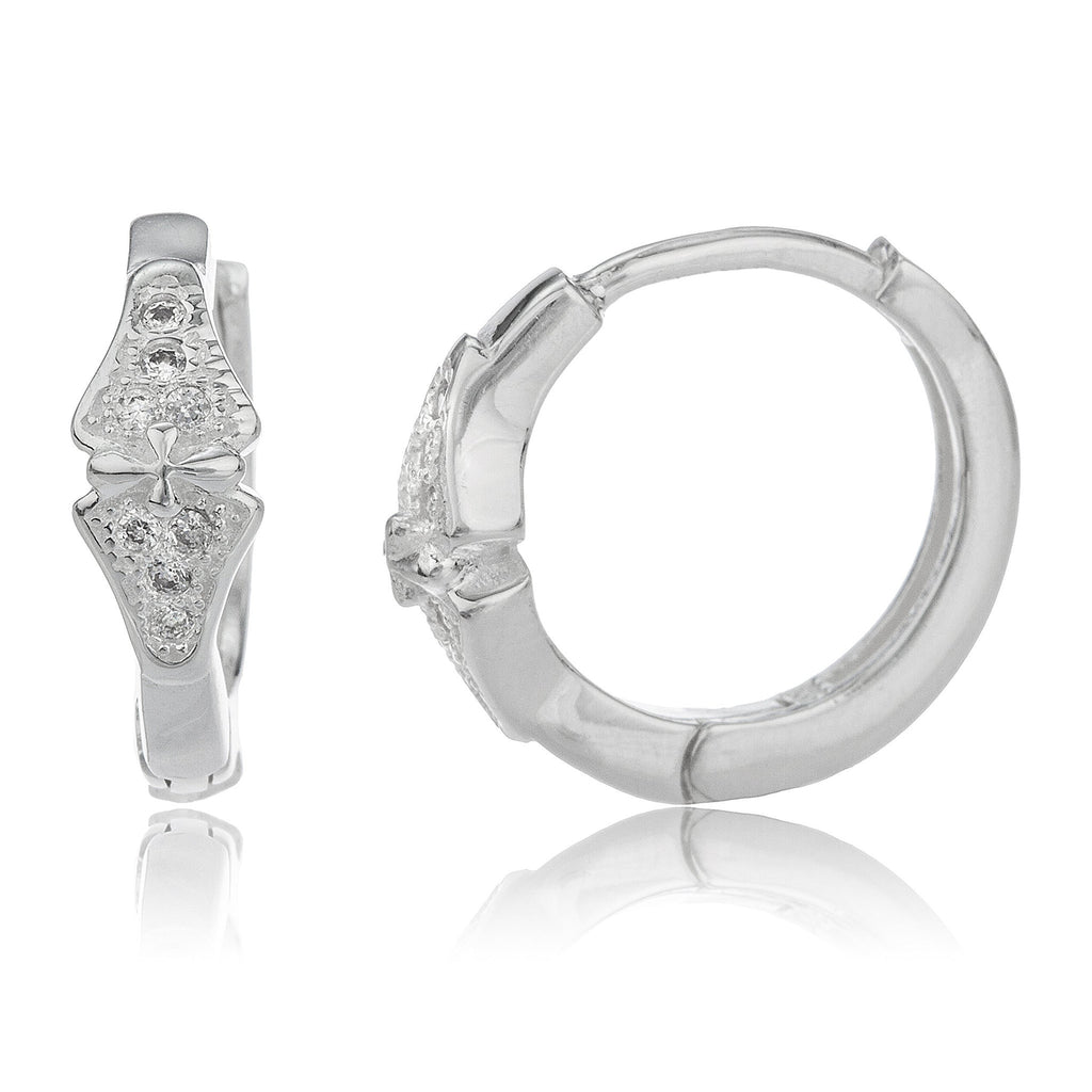 Real 925 Sterling Silver .5 Inch (13mm) Symmetrical Huggie Hoop Earrings With Cubic Zirconia