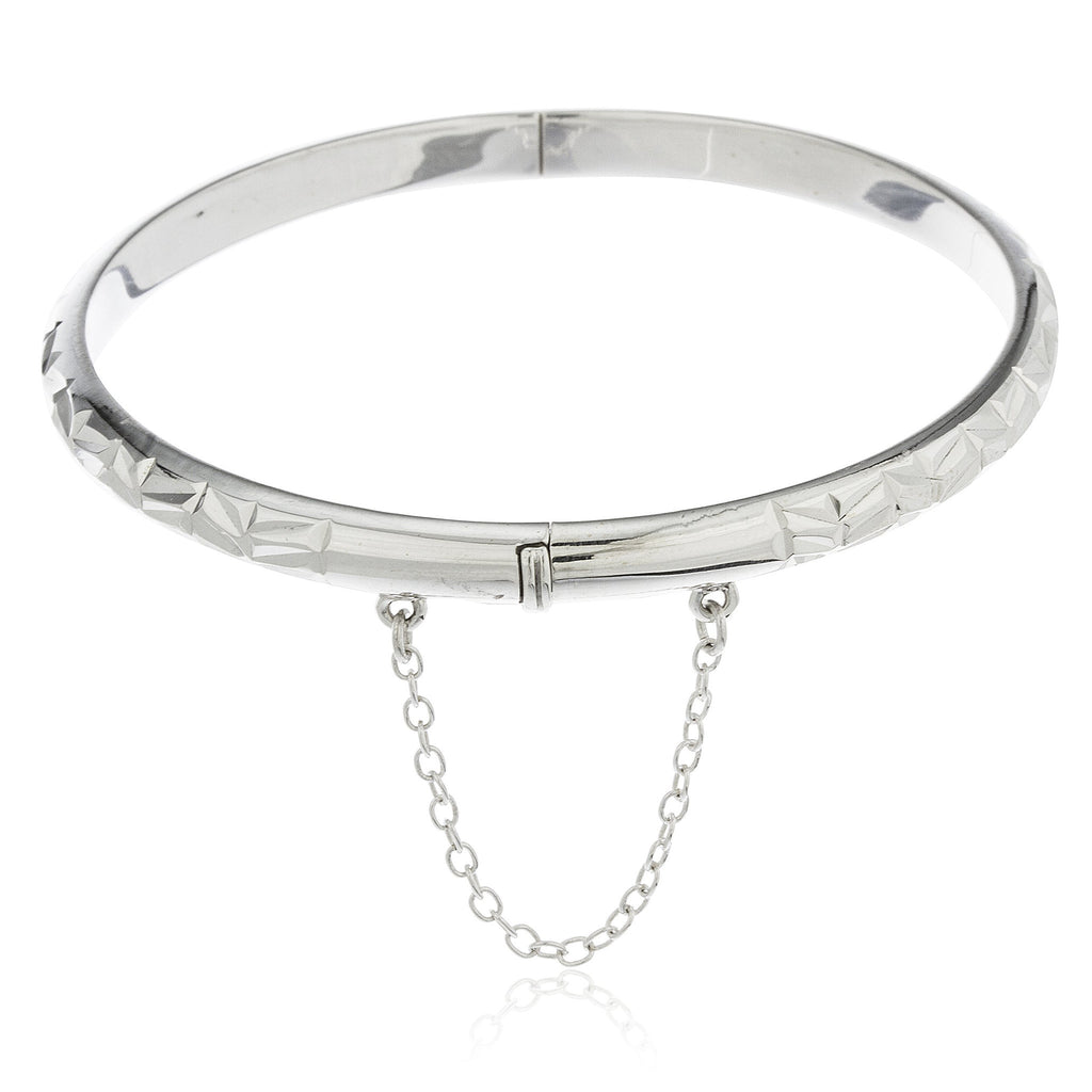 Real 925 Sterling Silver 5mm 7 Inch Bangle Adjustable Chain Bracelet