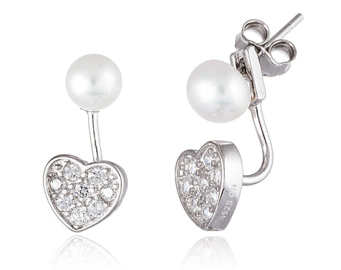 Real 925 Sterling Silver 5mm Simulated Pearl And Cz Heart Dangle Earrings