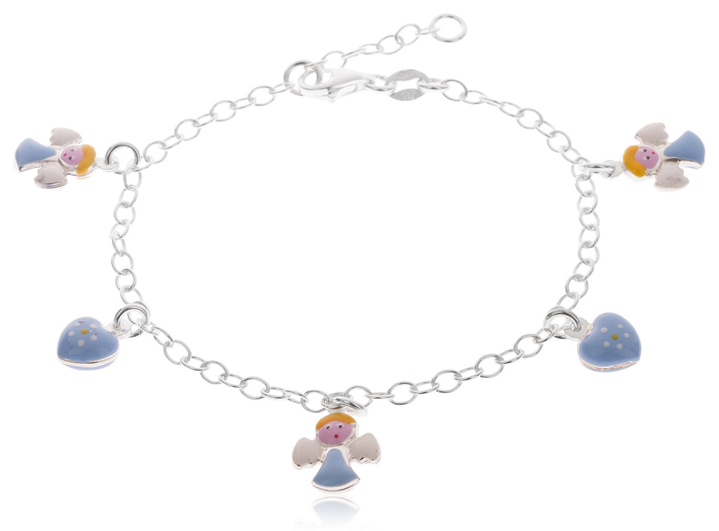 Real 925 Sterling Silver 6-7 Inch Adjustable Link Chain With Multicolor Angel And Heart Charms Bracelet