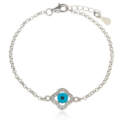 Real 925 Sterling Silver 7.5 Inch Eye Link Chain Bracelet With Clover Clear Cz Stones