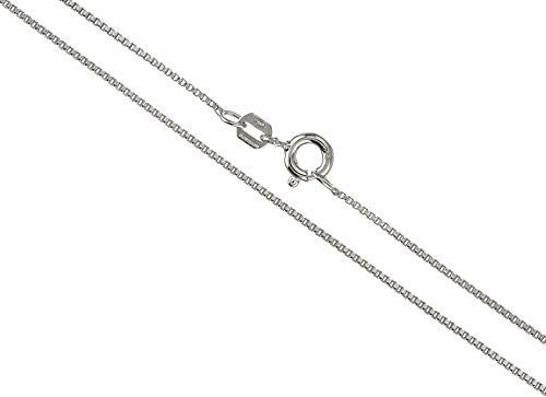 Real 925 Sterling Silver .75mm Box Chain Necklace - Made In Italy (rhodium-plated-silver, 18 Inches)