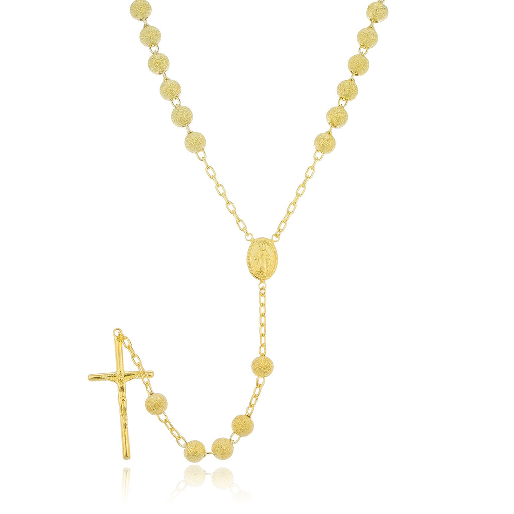 Real 925 Sterling Silver 7mm 32 Inch Gold Frosted Sandblast Beaded Rosary Necklace With Dangling Cross