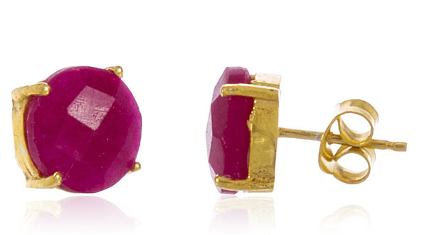 Real 925 Sterling Silver 8mm Semi Precious Stone Stud Earrings (Goldtone/Ruby)