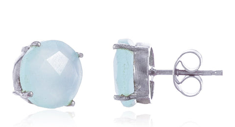 Real 925 Sterling Silver 8mm Semi Precious Stone Stud Earrings (Silver/Mint)