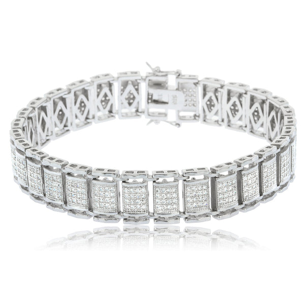 Real 925 Sterling Silver 9.5 Inch Extra Large Rectangle Boxed Bracelet With CZ Stones