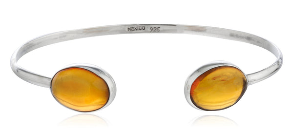 Real 925 Sterling Silver Adjustable Cuff Bangle Bracelet With Two Oval Amber Stones