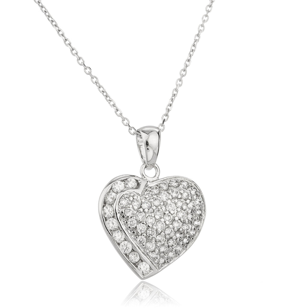 Real 925 Sterling Silver Alternated Pattern Heart Pendant With Cubic Zirconia And An 18 Inch Link Necklace