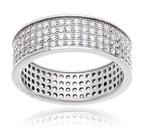 Real 925 Sterling Silver Band Ring With Cubic Zirconia (7)