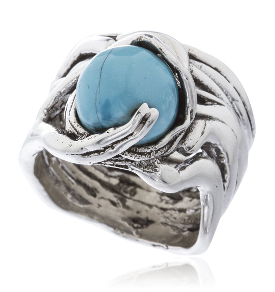 Real 925 Sterling Silver Basket Swirl Ring With Ball Stone (Baby Blue / Size 7)