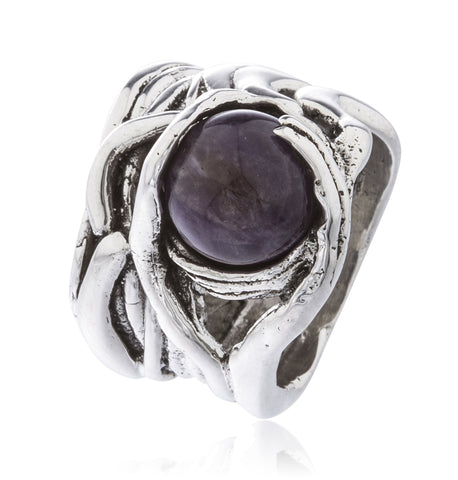 Real 925 Sterling Silver Basket Swirl Ring With Ball Stone (Purple / Size 7)