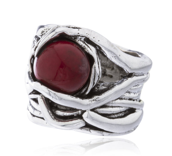 Real 925 Sterling Silver Basket Swirl Ring With Ball Stone (Red / Size 7)