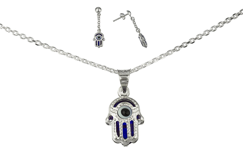 Real 925 Sterling Silver Blue Hamsa Hand And Eye Pendant Necklace With Matching Earrings Set