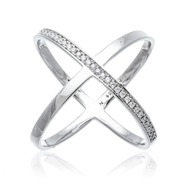 Real 925 Sterling Silver Bold Criss Cross X Ring With Stones