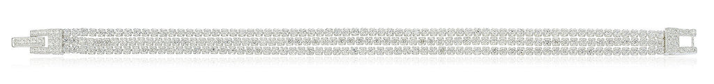 Real 925 Sterling Silver Bridal 3 Row Layered Tennis Bracelet With Stones (Sterling Silver)