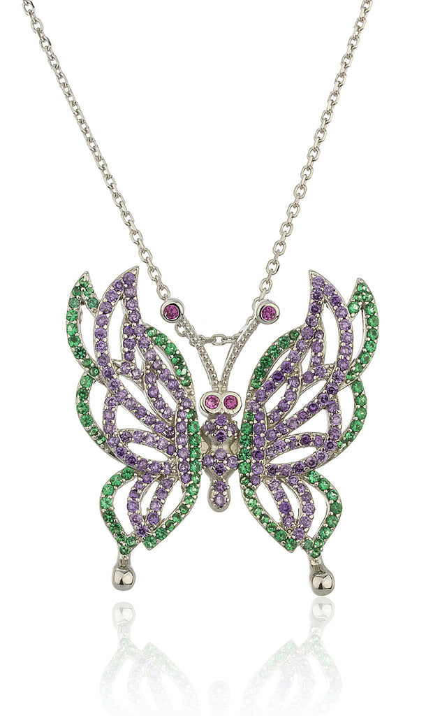 Real 925 Sterling Silver Butterfly Pendant With Multicolor Cz Stones And An 18 Inch Link Necklace