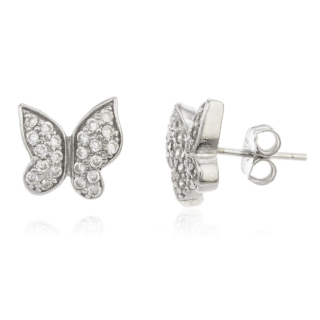 Real 925 Sterling Silver Butterfly Studs With Clear Cz Stones 10 Mm Earrings