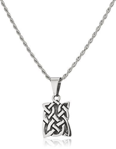 Real 925 Sterling Silver Celtic Knot Pendant With A 24 Inch Rope Necklace