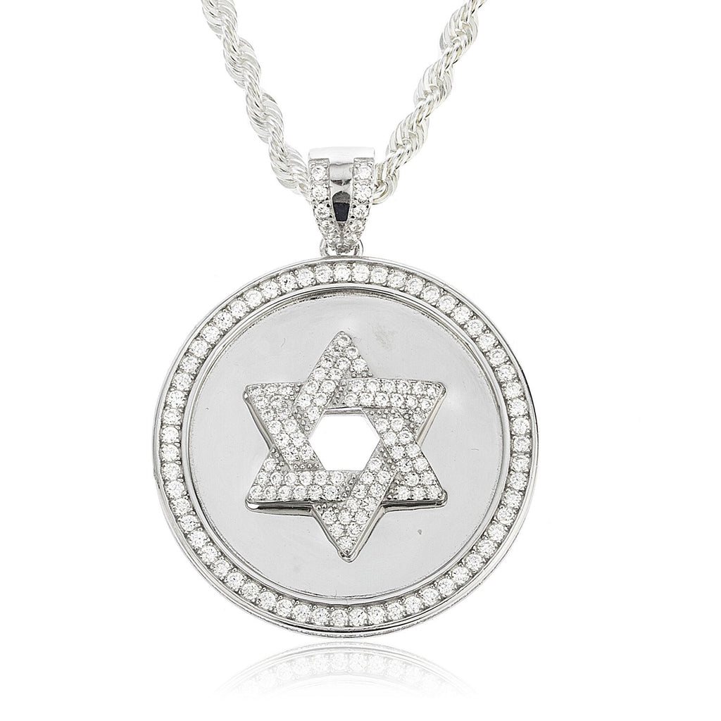 Real 925 Sterling Silver Circular Star Of David Pendant With Cubic Zirconia Stones And A 24 Inch Brass 3mm Rope Necklace