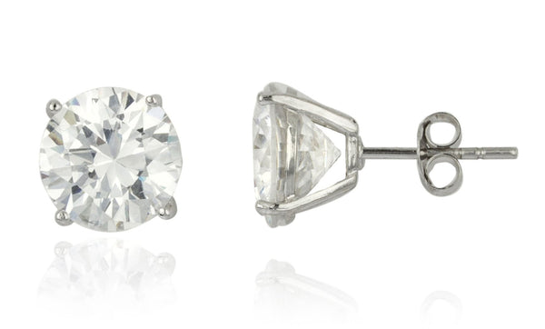 Real 925 Sterling Silver Clear Cz Stone Round Stud Earrings (rhodium-plated-silver, 10 Millimeters)