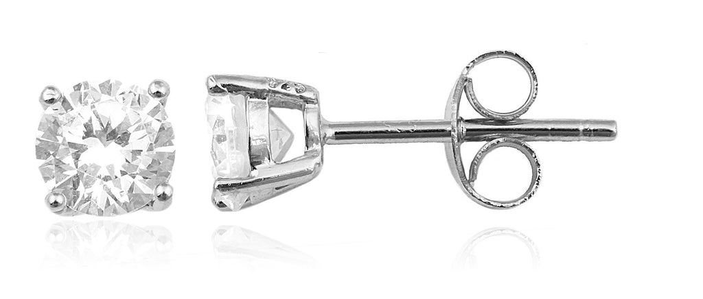Real 925 Sterling Silver Clear Cz Stone Round Stud Earrings (rhodium-plated-silver, 4 Millimeters)