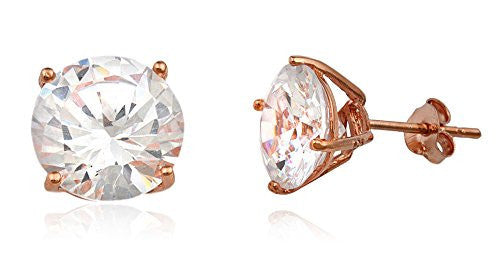 Real 925 Sterling Silver Clear Cz Stone Round Stud Earrings (rose-gold-and-sterling-silver, 10 Millimeters)