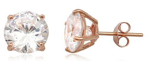 Real 925 Sterling Silver Clear Cz Stone Round Stud Earrings (rose-gold-and-sterling-silver, 8 Millimeters)