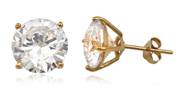 Real 925 Sterling Silver Clear Cz Stone Round Stud Earrings (yellow-gold-plated-silver, 10 Millimeters)