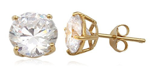 Real 925 Sterling Silver Clear Cz Stone Round Stud Earrings (yellow-gold-plated-silver, 8 Millimeters)
