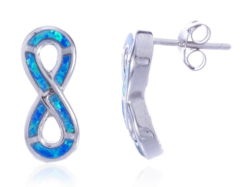 Real 925 Sterling Silver Created Blue Opal Infinity Stud Earrings