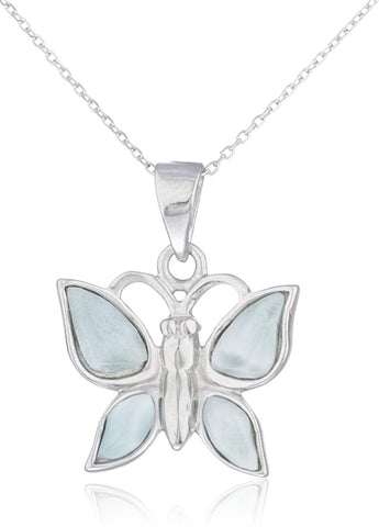Real 925 Sterling Silver Created Larimar Stone Butterfly Link Necklace