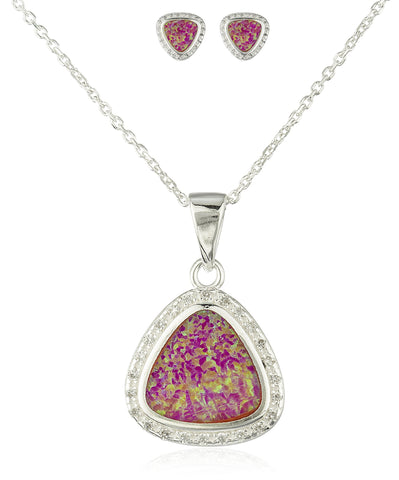 Real 925 Sterling Silver Created Opal 3-sided Pendant Necklace With Matching Stud Earrings Jewelry Set (Pink)