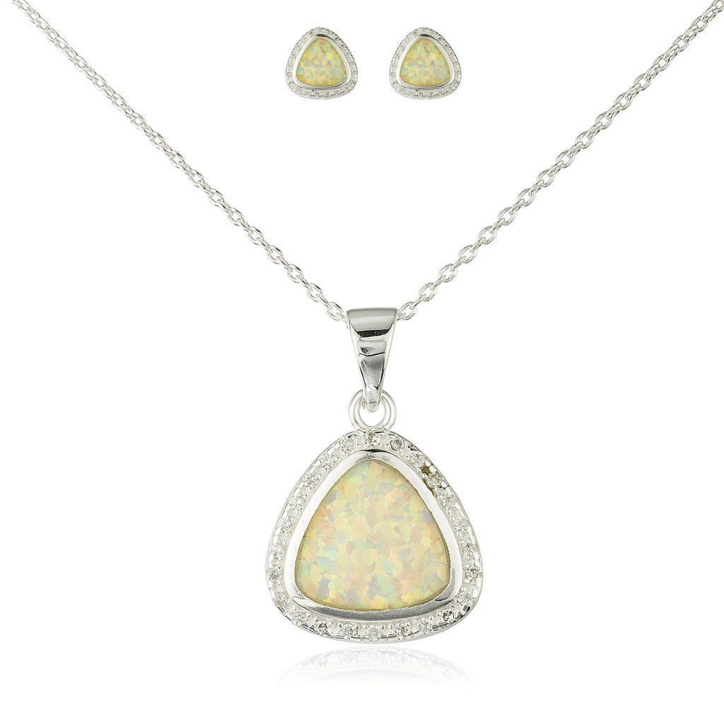 Real 925 Sterling Silver Created Opal 3-sided Pendant Necklace With Matching Stud Earrings Jewelry Set (White)