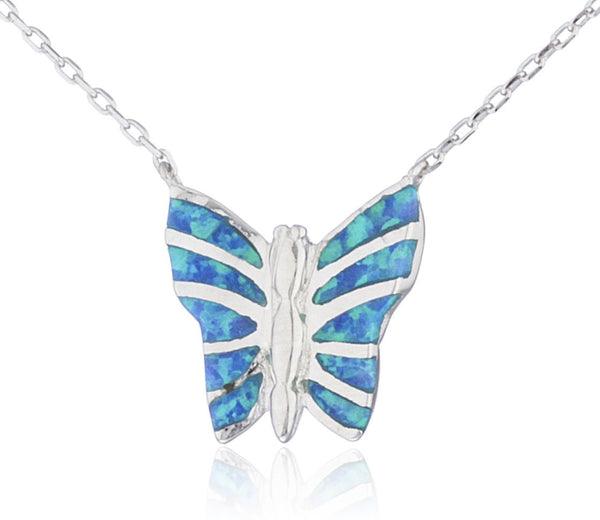 Real 925 Sterling Silver Created Opal Butterfly Pendant 18 Inch Link Necklace (Blue)