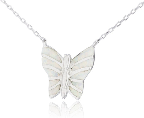Real 925 Sterling Silver Created Opal Butterfly Pendant 18 Inch Link Necklace (White)