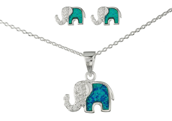 Real 925 Sterling Silver Created Opal Elephant Pendant Necklace With Cz Stones And Matching Stud Earrings Jewelry Set (Turquoise)