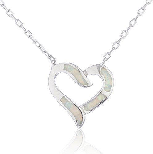 Real 925 Sterling Silver Created Opal Heart Design Necklace (White)