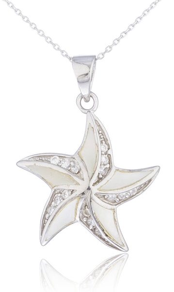 Real 925 Sterling Silver Created Opal Large Starfish With Cz Stones Necklace (White)