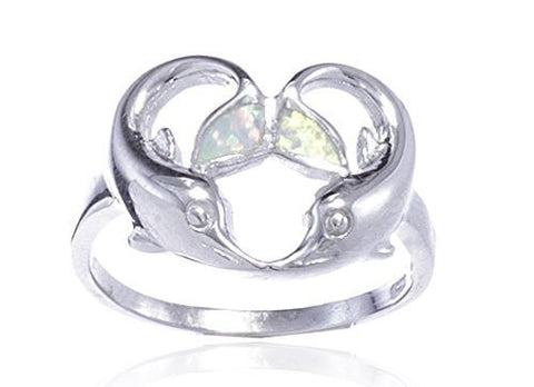 Real 925 Sterling Silver Created Opal Multicolor Dolphin Heart Design Ring (7)