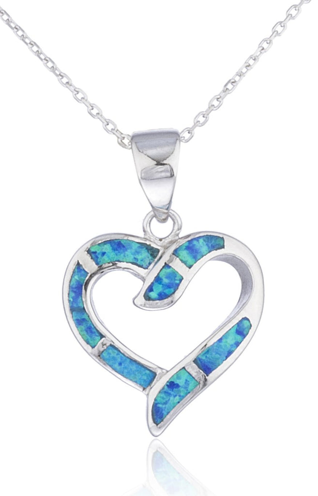 Real 925 Sterling Silver Created Opal Open Love Heart Necklace (Blue)