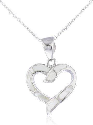 Real 925 Sterling Silver Created Opal Open Love Heart Necklace (White)