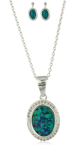 Real 925 Sterling Silver Created Opal Round Pendant Necklace With Matching Earrings Jewelry Set (Green)