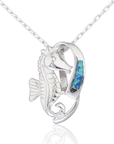 Real 925 Sterling Silver Created Opal Seahorse Necklace (Blue)